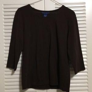 Karen Scott Brown Long Sleeve Shirt Size Medium